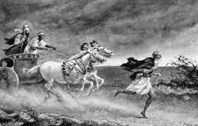 Elijah running in front of Ahab
